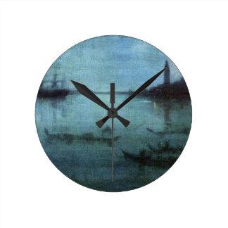 Horloge Ronde Bleu et argentez la lagune Venise