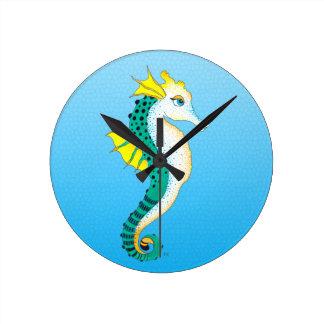 Horloge Ronde bleu turquoise d'hippocampe