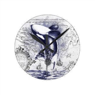 Horloge Ronde Bleu vintage de carte de baleine d'orque