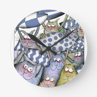Horloge Ronde bleus de minou