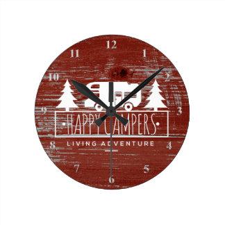 Horloge Ronde Bois rustique rouge campant de grange des