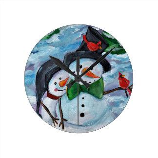 Horloge Ronde Bonhommes de neige de visite cardinaux