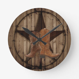 Horloge Ronde Bottes de cowboy en bois de pays occidental