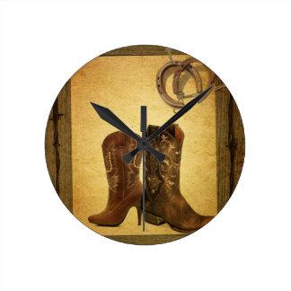 Horloge Ronde bottes de cowboy en fer à cheval primitives de