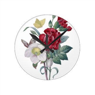 Horloge Ronde bouquet d'anémone et d'oeillets