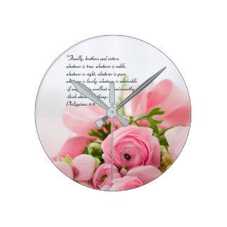 Horloge Ronde Bouquet de rose en pastel de vers de bible de