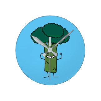 Horloge Ronde Brocoli fléchissant le légume heureux de vert de
