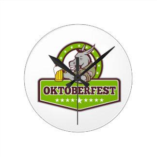 Horloge Ronde Buveur de bière d'âne Oktoberfest rétro