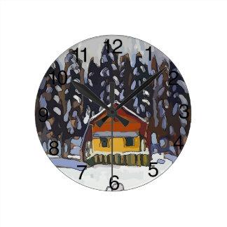 Horloge Ronde Cabine dans la neige