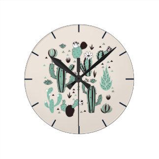 Horloge Ronde Cactus