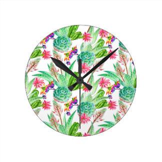 Horloge Ronde Cactus lumineux d'aquarelle et motif succulent