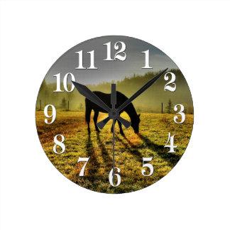 Horloge Ronde cadeau occidental de concepteur de cheval de thème