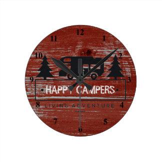 Horloge Ronde Camping en bois de la grange rustique rouge rv des