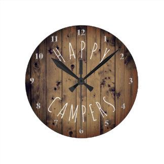 Horloge Ronde Camping rustique de la retraite rv en bois   de