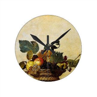 Horloge Ronde Caravaggio - panier de fruit - illustration