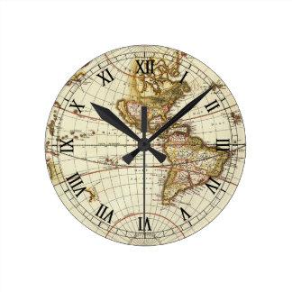 Horloge Ronde Carte antique du monde, C. 1680. Par Frederick de