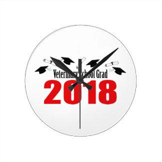 Horloge Ronde Casquettes et diplômes du diplômé 2018 d'école