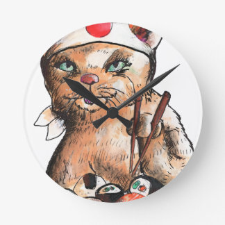 Horloge Ronde cat eating sushi