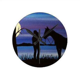 Horloge Ronde cavalier et cheval
