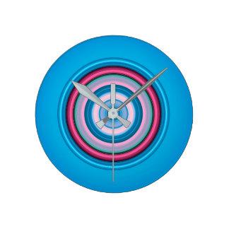 Horloge Ronde Cercles - rose bleu