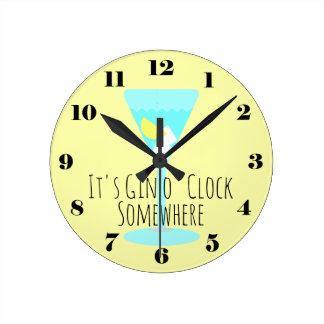 Horloge Ronde C'est heure de genièvre quelque part - barre ou