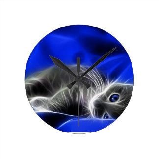 Horloge Ronde chat bleu