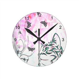 Horloge Ronde Chat coloré
