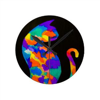 Horloge Ronde Chat d'arc-en-ciel