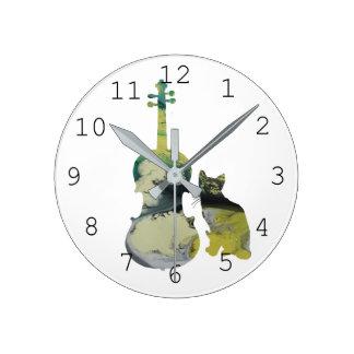 Horloge Ronde Chat et alto