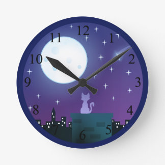 Horloge Ronde Chat sous le nombre de clair de lune