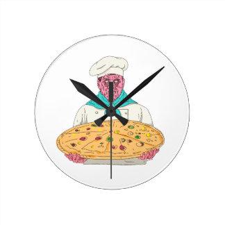Horloge Ronde Chef de zombi tenant l'art de crasse de tarte de