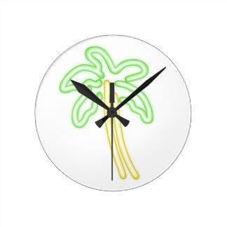 Horloge Ronde Chemises AU NÉON de PALMIER, accessoires, cadeaux