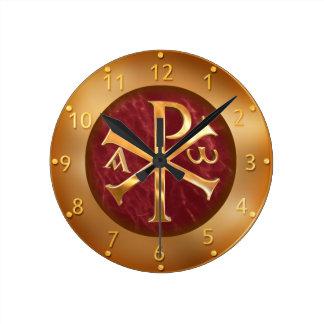 Horloge Ronde Chi-Rho d'or
