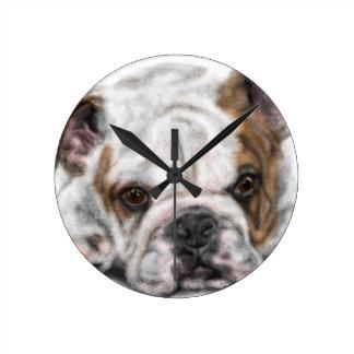 Horloge Ronde Chiot de bouledogue
