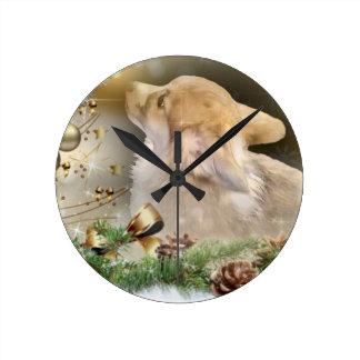 Horloge Ronde Chiot de corgi de Noël