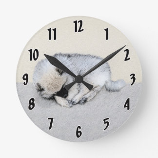 Horloge Ronde Chiot de Keeshond (sommeil)