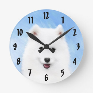 Horloge Ronde Chiot de Samoyed