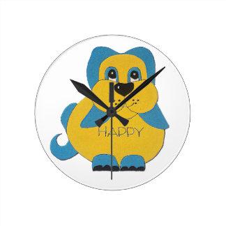 Horloge Ronde Chiot heureux bleu et jaune