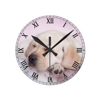 Horloge Ronde Chiot jaune de labrador retriever