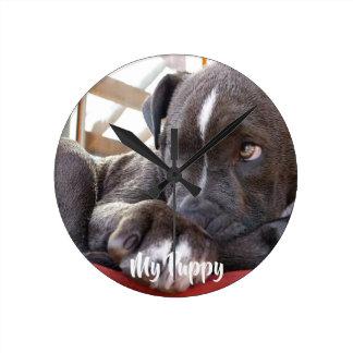 Horloge Ronde Chiots Editable de Pitbull de bébé