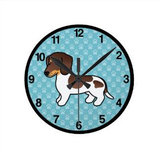 Horloge Ronde Chocolat et teckel lisse pie bronzage de manteau