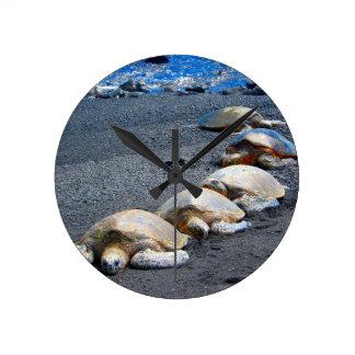 Horloge Ronde Cinq tortues paresseuses se situant dans le sable