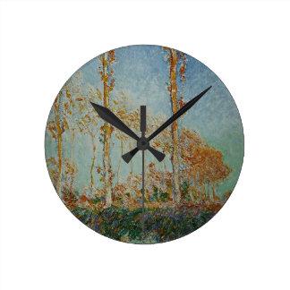 Horloge Ronde Claude Monet - l'illustration de peupliers