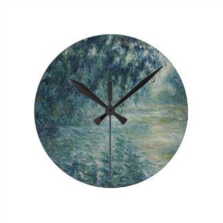 Horloge Ronde Claude Monet - matin sur l'oeuvre d'art de la