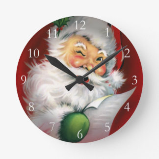 Horloge Ronde Cligner de l'oeil la liste de Noël de Père Noël
