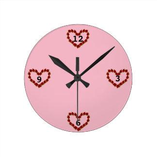 Horloge Ronde Coeur des roses