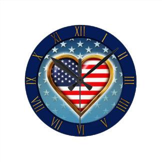 Horloge Ronde Coeur des USA