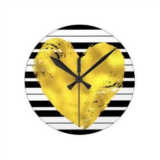 Horloge Ronde Coeur et rayures d'or