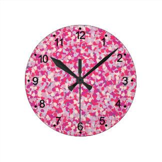 Horloge Ronde coeur multi Confetti2 de couleur