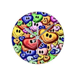 Horloge Ronde Coeurs de sourire drôles A